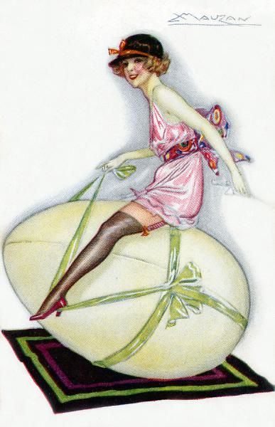 A girl in her underwear riding a large Easter egg
