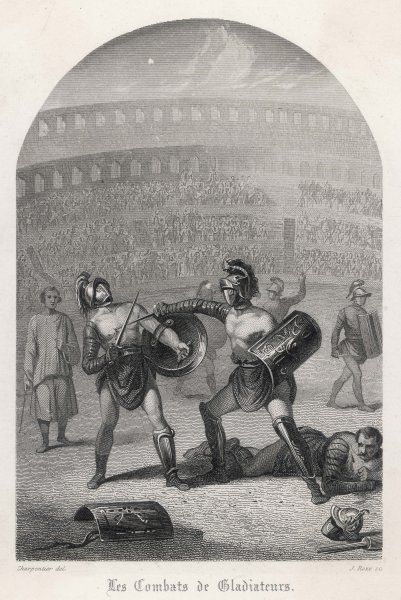 Gladiators in combat, wearing helmets and using shields