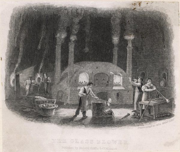 GLASS BLOWERS 1830. Glass-blowers at work around the furnace in an English glassworks