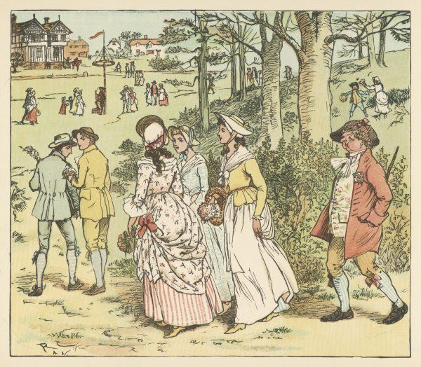 Country lads and lasses make their way to the maypole