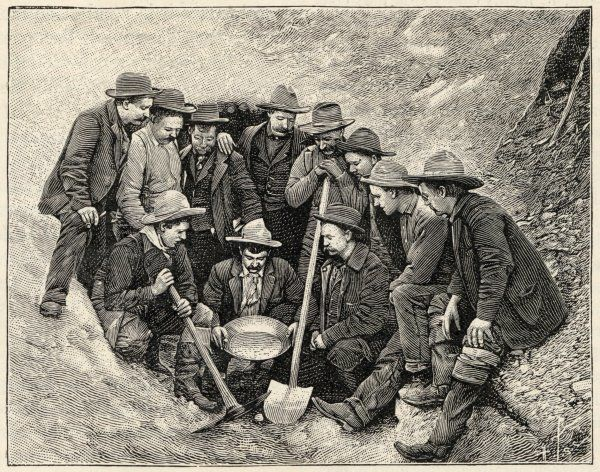 Prospectors assessing a sample Klondike