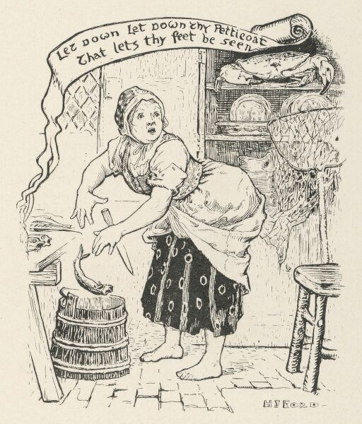 The fisherman's old wife is astonished when the golden crab sitting on a shelf in her kitchen tells her to let her petticoat down to cover her feet. (German story)