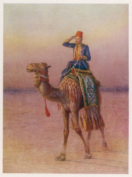 GENERAL CHARLES GORDON British military Governor General of the Sudan approaching the city of Dava on a camel in 1876