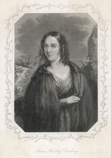 Grace Horsley Darling, daughter of the lighthouse keeper, William Darling, on the Farne Islands, who rowed with her father to the sinking steamboat the SS Forfarshire in 1838 -- together they saved 13 people from the wreck