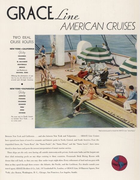 Advertisement for Grace Line cruises Date: 1935