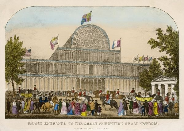 The Great Exhibition of All Nations in Hyde Park, London - view of the Grand Entrance to the Crystal Palace, with people milling around