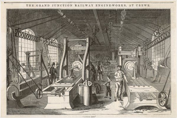 The Grand Junction Railway locomotive manufactory at Crewe : the heavy machine shop, containing large machine tools such as planing machines and a lathe