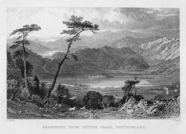 GRASMERE/ALLOM/1832. Grasmere Lake from Butter Crags, Westmorland