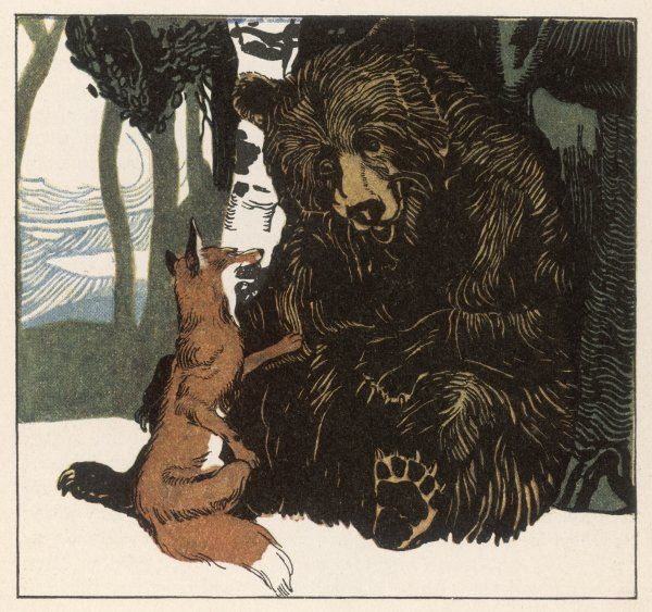 GRIMM/WREN & BEAR. A scene from the story showing a fox in conversation with the bear