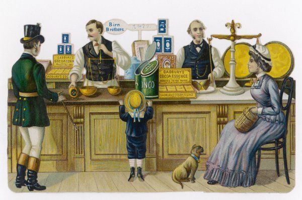 A grocer's shop - a lady customer is seated, a manservant collects an order, a boy and a dog wait hopefully
