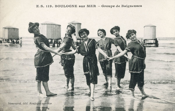 Group of Female Bathers at Boulogne-sur-Mer, France. Date: circa 1909