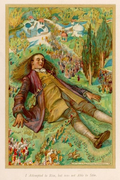 "Gulliver is tied up by the people of Lilliput: ""I attempted to rise, but was not able to stir.&quot"