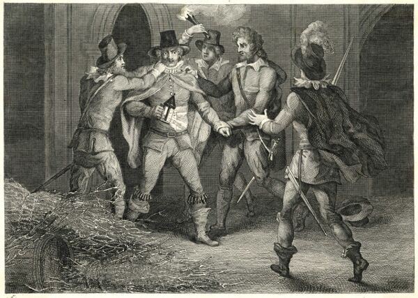 GUNPOWDER/DISCOVERY. Guy Fawkes is discovered under the House of Lords