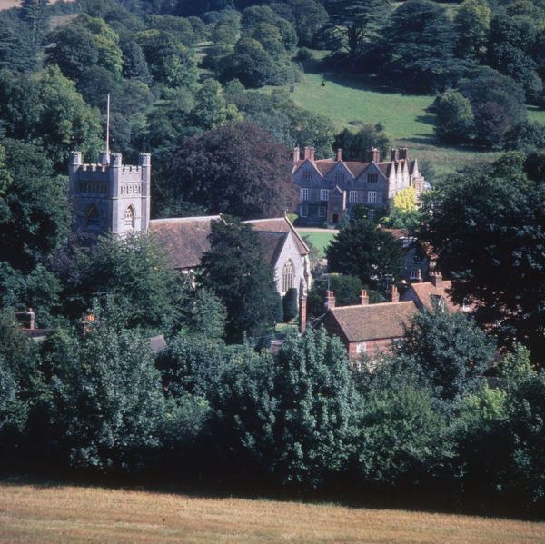 Hambleden, Bucks - View looking down on the village Date: 1980s
