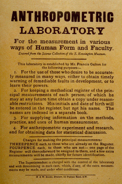 Handbill for Francis Galton's Anthropometric Laboratory