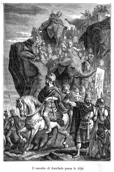 SECOND PUNIC WAR : Hannibal, the Carthaginian leader, descending into Italy after crossing the Alps with his army, including war elephants. It was a long journey, starting in Iberia, and crossing the Pyrenees and the Alps into northern Italy