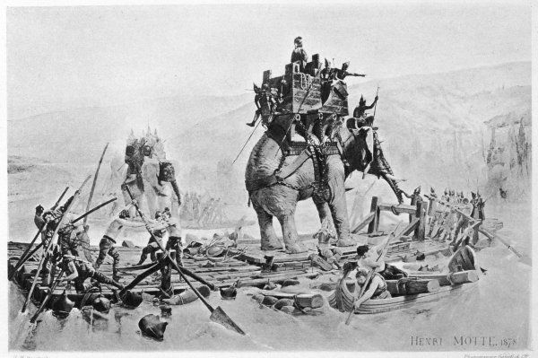 SECOND PUNIC WAR: Hannibal, the Carthaginian leader, crossing the Rhone River, probably near Aurasio in present-day France, with his army and elephants before crossing the Alps into Italy to fight in the Second Punic War
