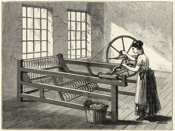 HARGREAVES' SPINNING JENNY James Hargreaves in 1767 invented this jenny which could spin 8 bobbins at once ; later this was increased to 16