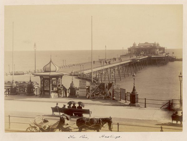 The Pier (admission 2d) with announcements of 'Robinson Crusoe', 'Judas Maccabeus', excursions on the 'Seagull' for the Easter holiday