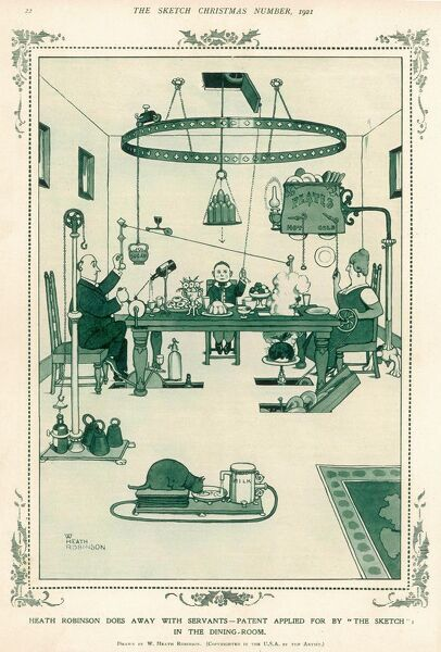 "Heath Robinson Does Away with Servants - Patent Applied for by ""The Sketch"" in the Dining-Room"