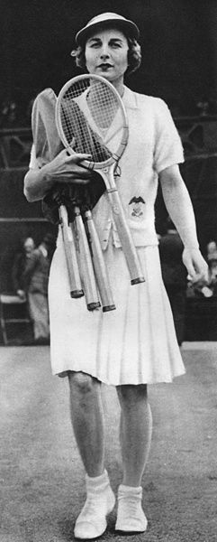 Helen Wills Moody (USA) on court at Wimbledon