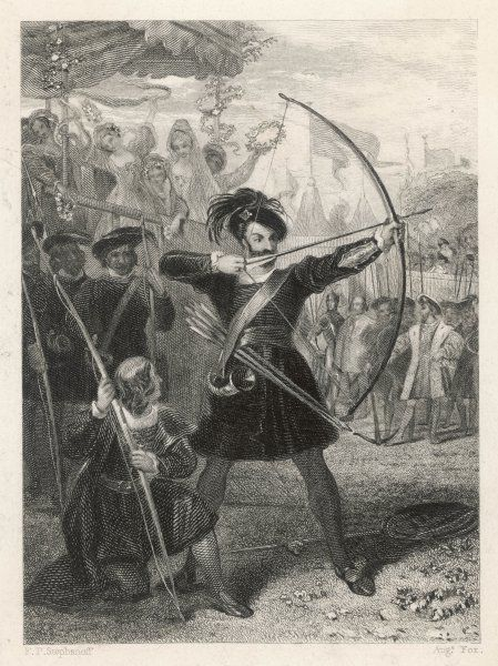 KING HENRY VIII demonstrating his prowess as an archer at the Field of the Cloth of Gold, June 1520