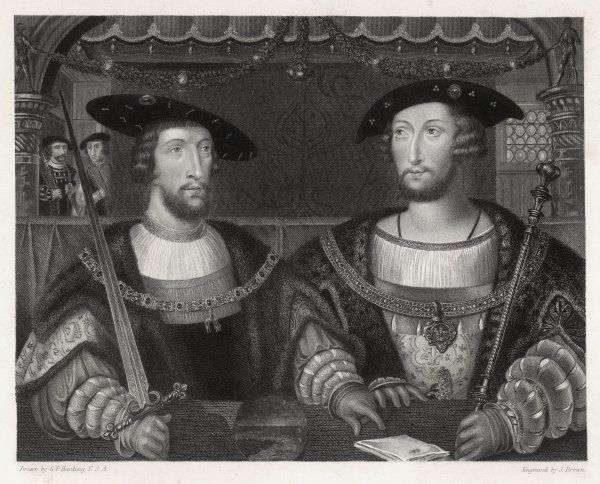 KING HENRY VIII with the Emperor Carl V, as young men they met in Gravelines in July 1520