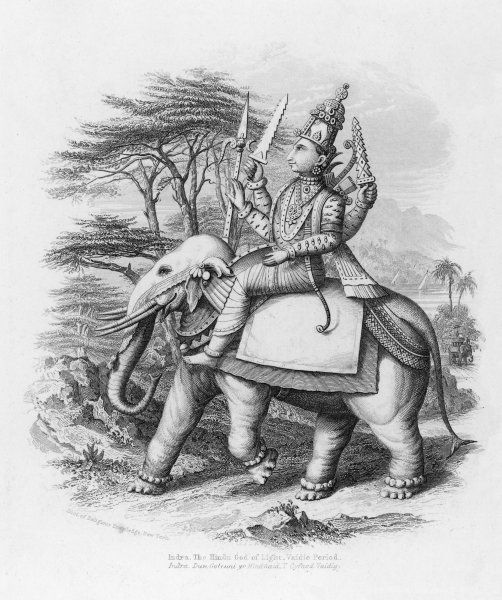Indra, King of the hindu gods in an early collection of hymns, the Rig Veda. He had authority over the sky ; he could rend clouds apart with thunderbolts to make rain