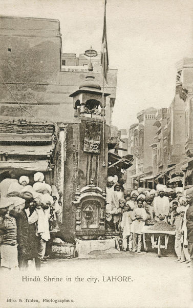 Hindu Shrine at edge of Street in Lahore, Punjab, Pakistan (at this stage still in Northern India). Date: circa 1910s