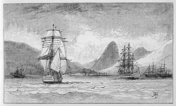 HMS 'Beagle', the ship in which Charles Darwin sailed, approaching Mauritius