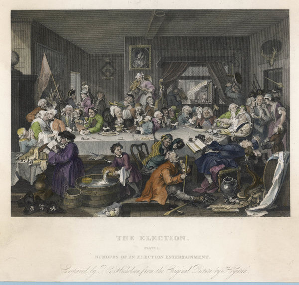 THE ELECTION An election entertainment: a Whig banquet, with Tories demonstrating outside plate 1 of 4 Date: 1755