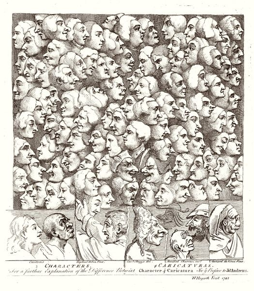 Hogarth Faces 1807. A myriad of faces looking in different directions