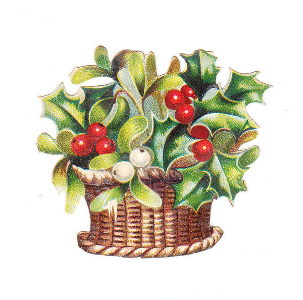 Holly and mistletoe in a basket on a Christmas card
