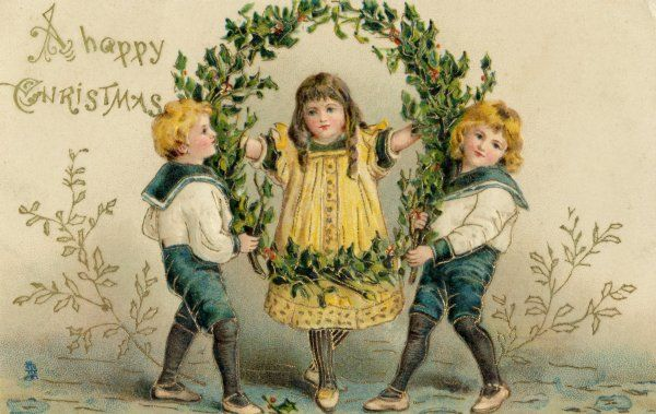 THE HOLLY WREATH. Three children with a large wreath of holly