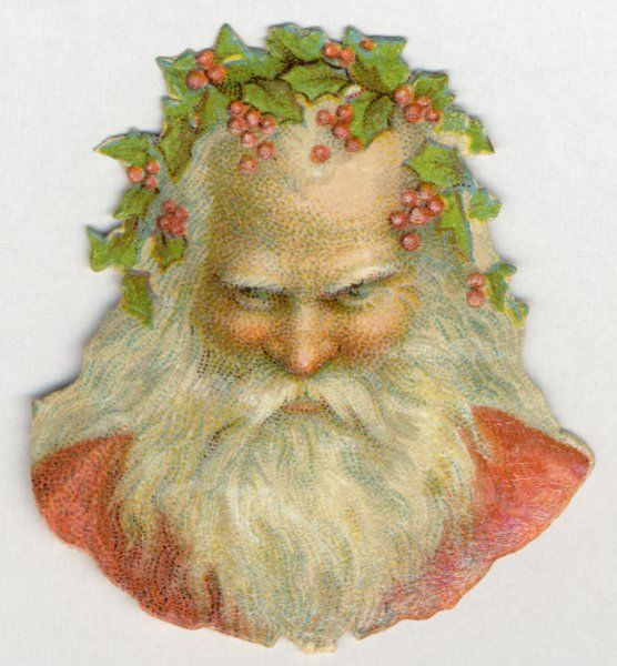 HOLLYHEAD SANTA. crowned with holly