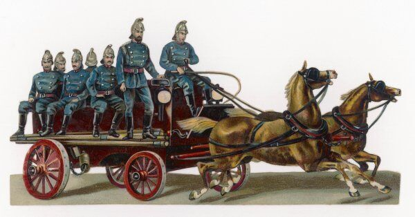 A horse drawn fire engine