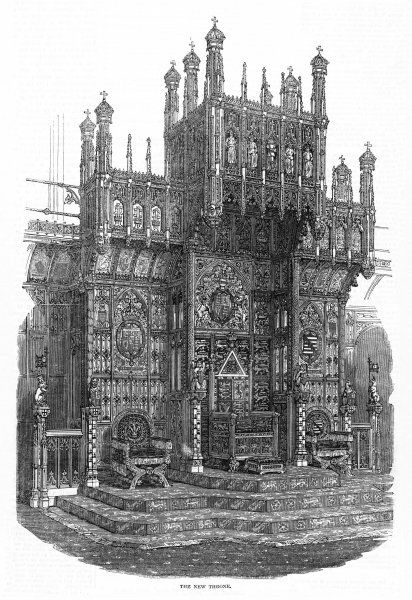 HOUSE OF LORDS 1847. The Throne in the House of Lords