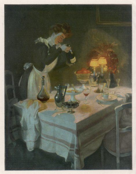 After the dinner-party, a housemaid looks in the wine bottle to see if there is any left for her