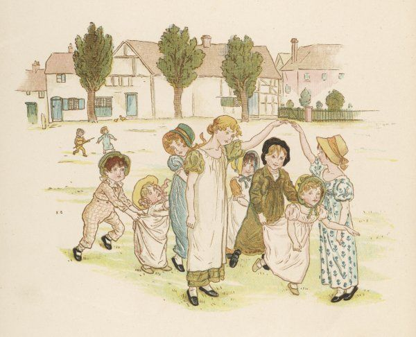 Children country dancing on a village green