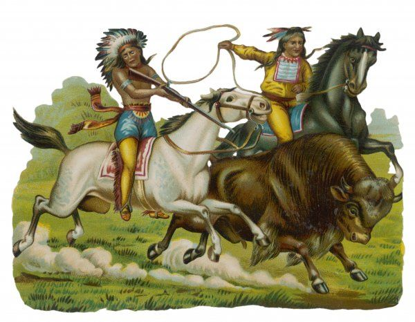 Native Americans hunting buffalo on horseback