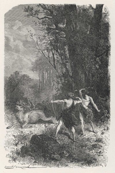 Hunting deer during the Palaeolithic Era
