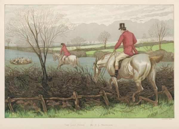 HUNTINGFOXTHE KILL. The last fence - the hounds have caught the fox