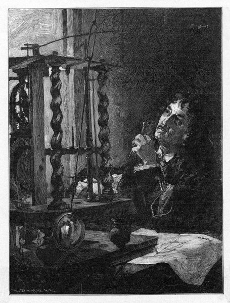 CHRISTIAN HUYGENS working on his invention of the first pendulum clock