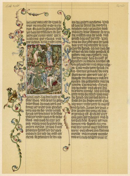 A page from the illuminated manuscript known as the Wenzelbibel (or Wenzelsbibel), named after King Wenzel (Wenceslaus) IV of Bohemia. It contains some of the books of the Old Testament, and was written in German, translated from Latin