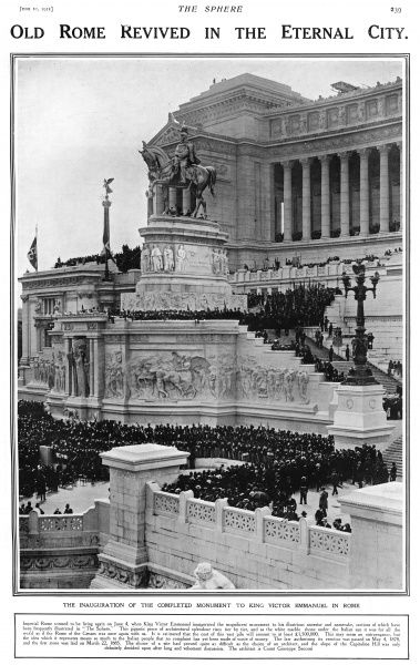 Inauguration of King Victor Emmanuel monument
