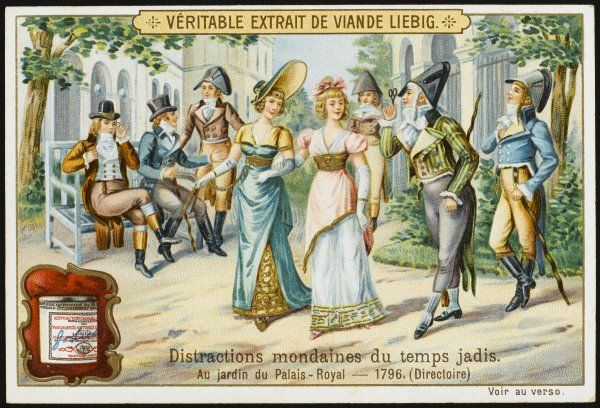 Fashionable 'incroyables' parade in their extravagant costume in the Palais Royal, Paris
