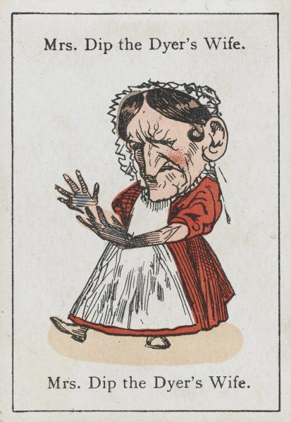 "Mrs Dip the Dyer's Wife, from ""Happy Families"" devised in Britain by Mr Jacques in 1861"