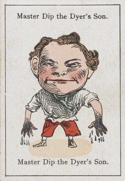 "Master Dip the Dyer's Son, from ""Happy Families"" devised in Britain by Mr Jacques in 1861"