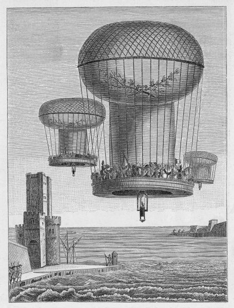 INVASION PLANS The 'Thiloriere' is a huge montgolfiere (hot-air-balloon) which will carry large numbers of French troops to England, at a very modest cost Date: 1804