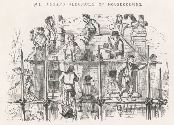'Mr Briggs's Pleasures of Housekeeping' Cartoon about Irish labourers employed to build a house